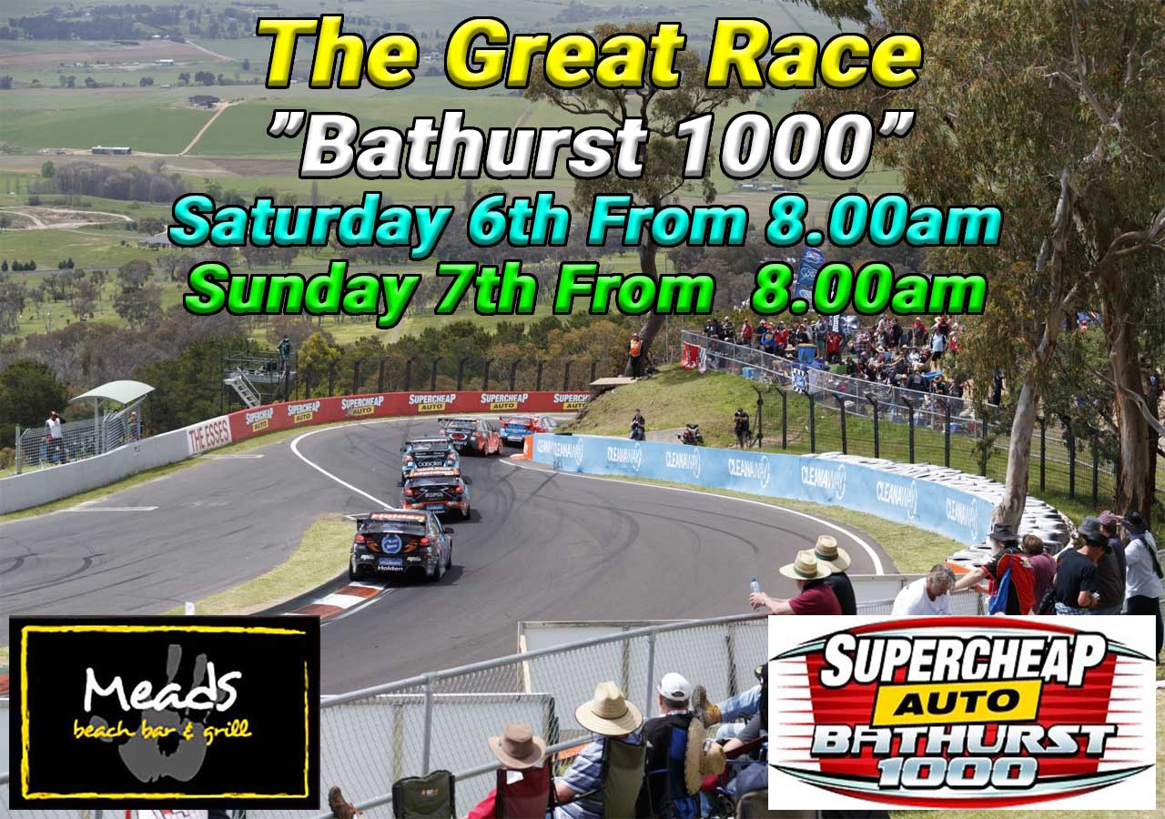 Where to watch Bathurst 1000 Live Meads Beach Bar & Grill Bali