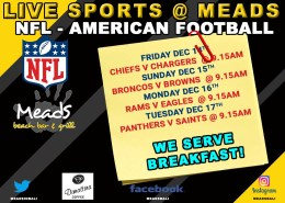 Where to Watch American Football NFL in Bali Meads Beach Bar & Grill