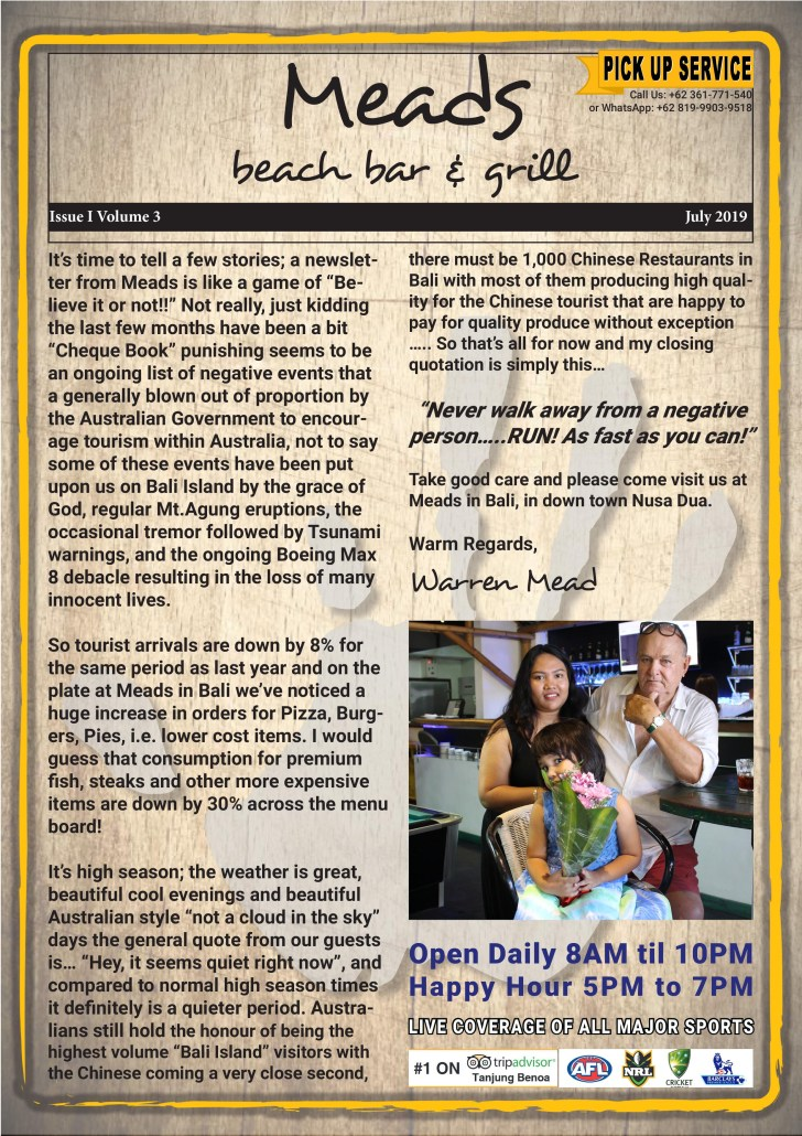 Meads in Bali Newsletter - Issue I Volume - 3 July 2019