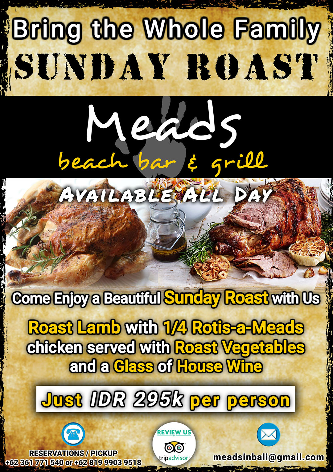 Meads Bali Sunday Roast for the Whole Family