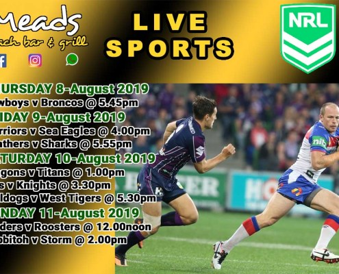 NRL RUGBY Live on the Big Screens at Meads In Bali