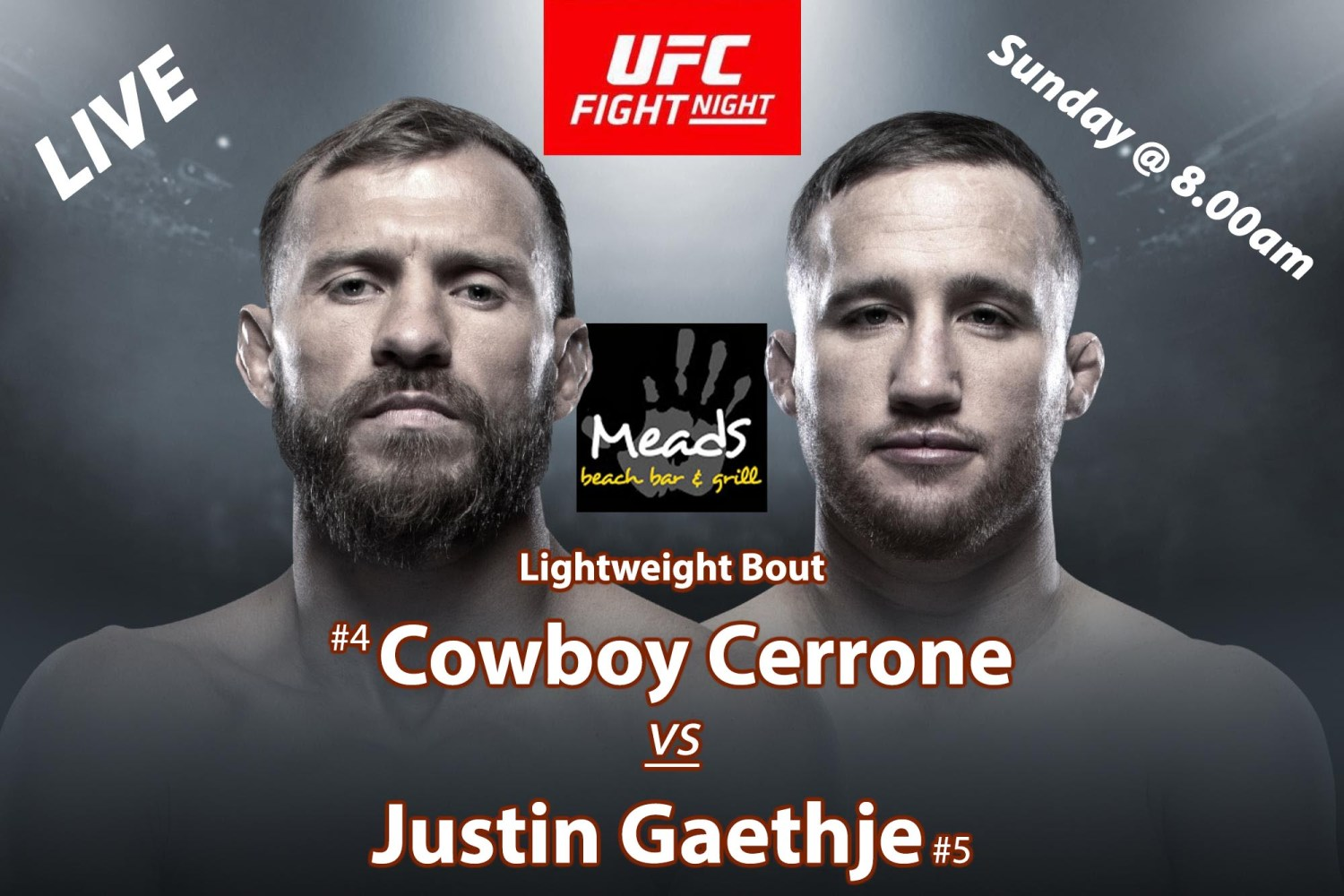 Cowboy Cerrone vs Justin Gaethje UFC Fight Night Live Meads in Bali