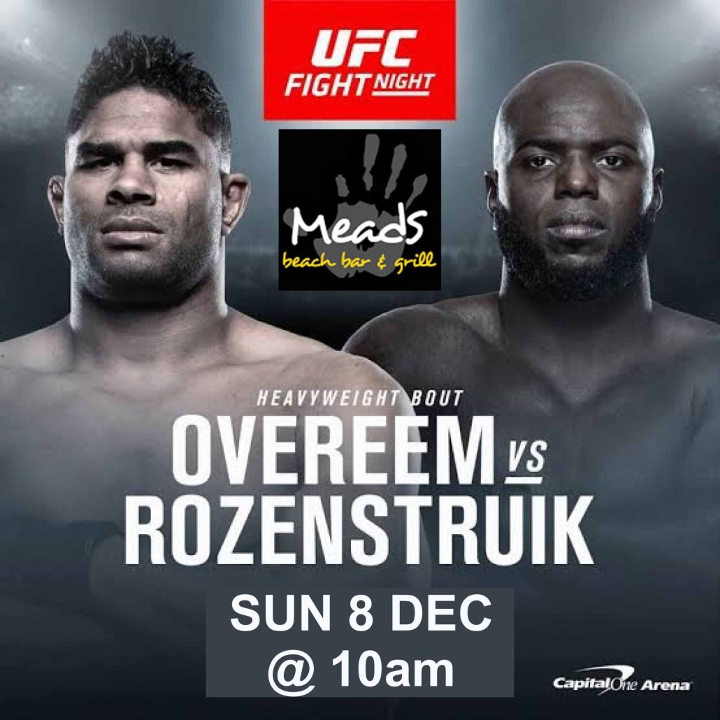 UFC Fight Night Overeem vs Rozenstruik Sun, Dec 8