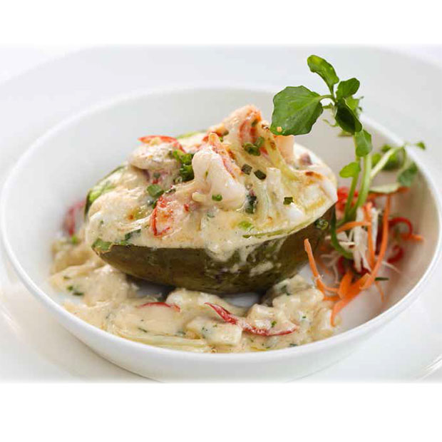 OVEN BAKED AVOCADO WITH FRESH SNAPPER, PRAWN AND SQUID