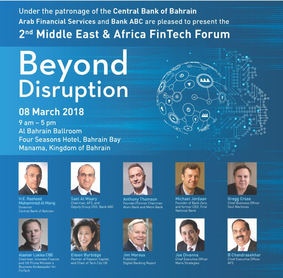 Global Experts – Including Founder of UK's First Digital Bank and Artificial Intelligence Expert – on Agenda for 2nd Middle East & Africa FinTech Forum in Bahrain