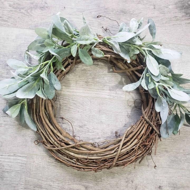 Twig wreath covered in lambs ear greenery