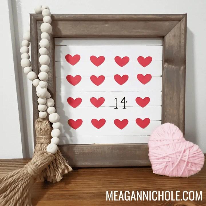 Wooden framed DIY Valentine's Day Sign