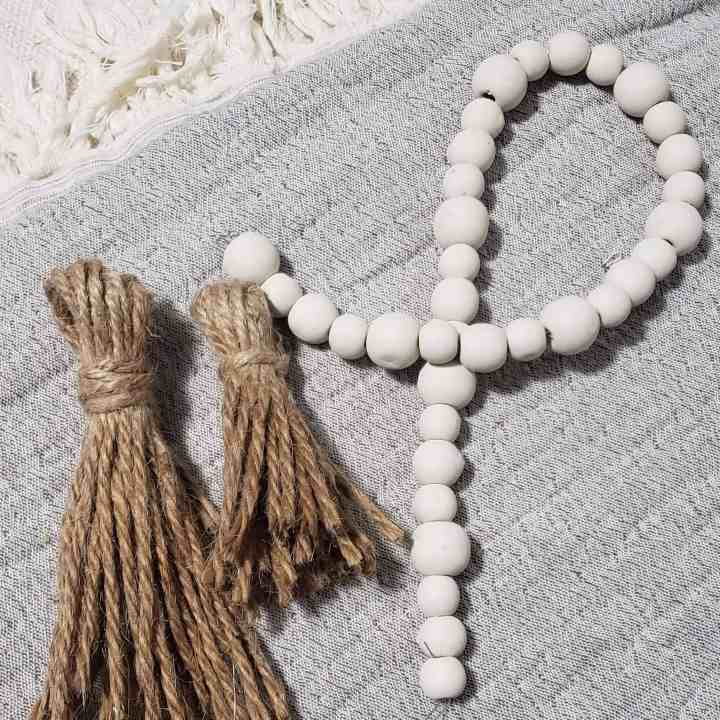Farmhouse Wooden Bead Garland with tassels