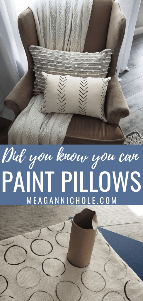 pin for a how to paint pillows blog post tutorial
