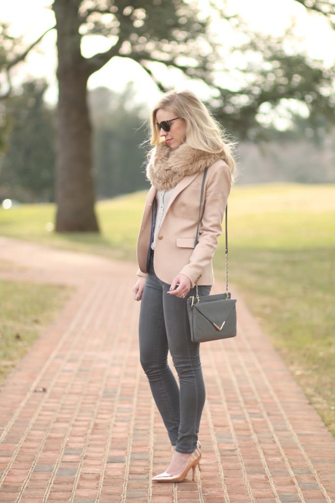 Soft Blush Pink Blazer Faux Fur Snood Amp Rose Gold