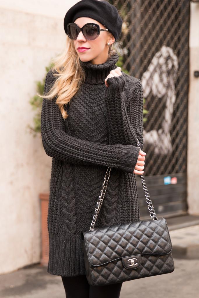 Knit Turtleneck Black Dress