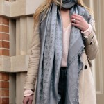 Louis Vuitton Charcoal Gray Shine Shawl Scarf Pink And Gray Spring Outfit With Khaki Trench Coat Meagan S Moda