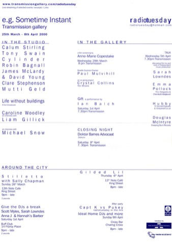 e.g. Sometime Instant exhibition poster, Transmission Gallery, 2000