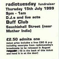 Radio Tuesday fundraiser ticket, 1999