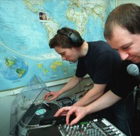 Duncan Campbell & Mark Vernon live on air, Kiasma Museum, Helsinki, 2000