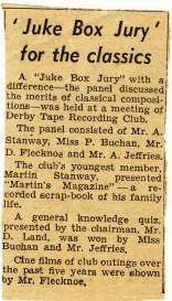Evening Telegraph news clipping - 'Juke Box Jury'