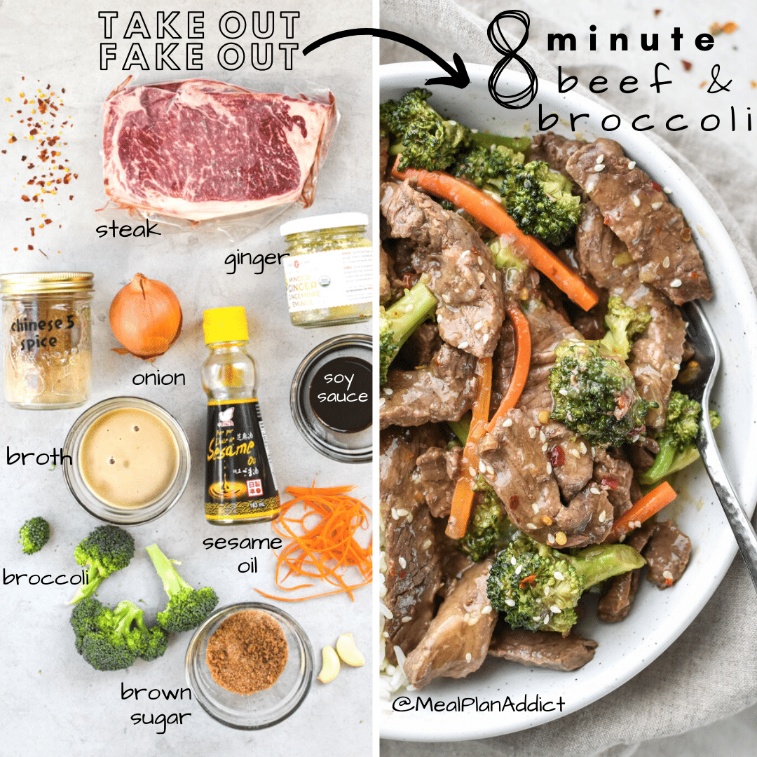 Ingredients side by side with finished and plated bowl of beef and broccoli with rice
