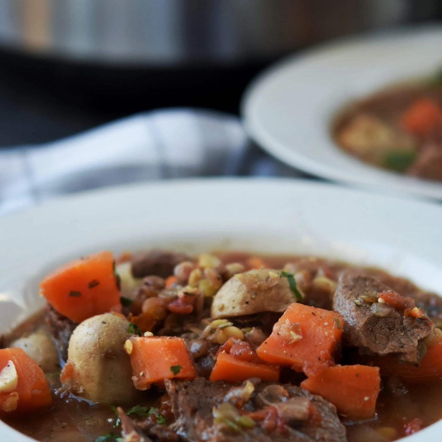 Prep Ahead Spicy Instant Pot Beef Lentil Stew