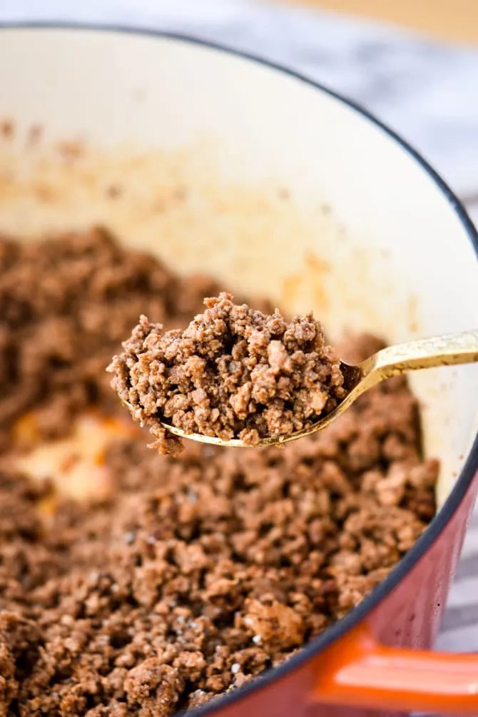 Batch Prep Taco Meat close up