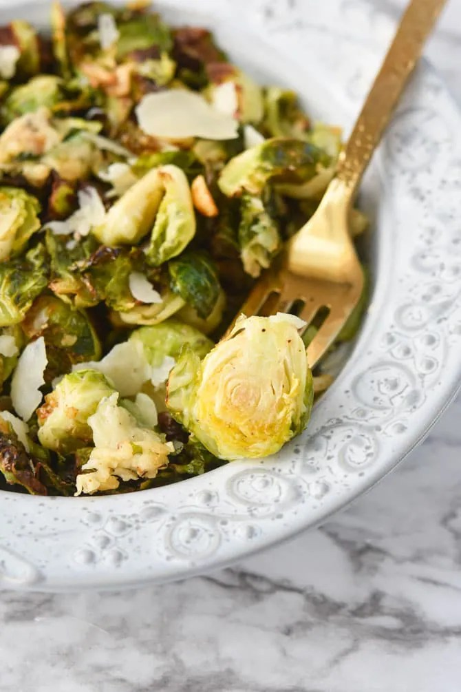 Garlic Parm Brussels Sprouts Air Fryer on fork