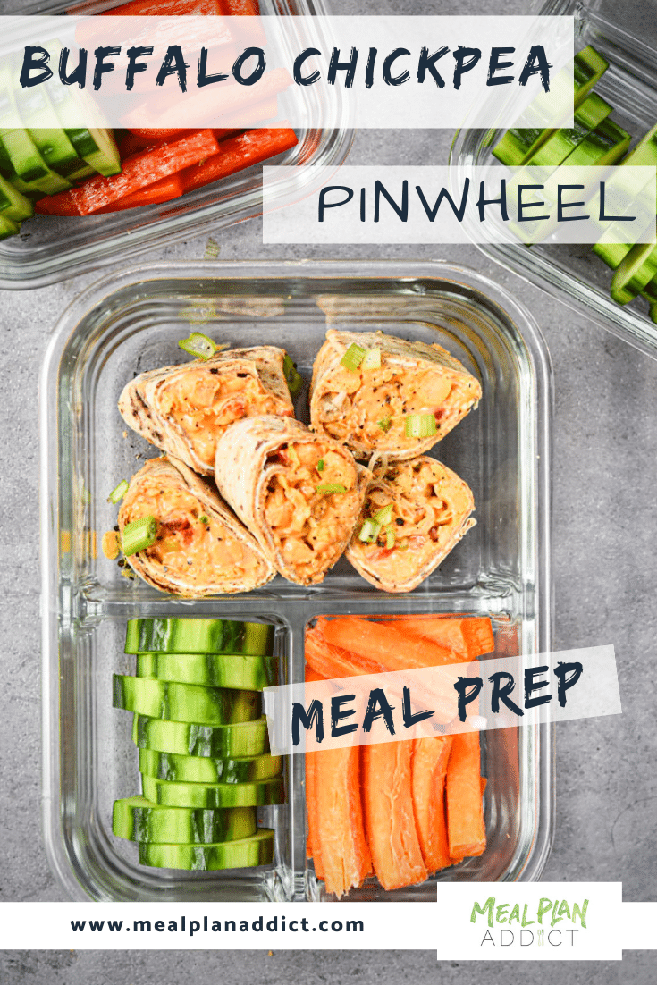 Buffalo Chickpea Pinwheel Meal Prep in container