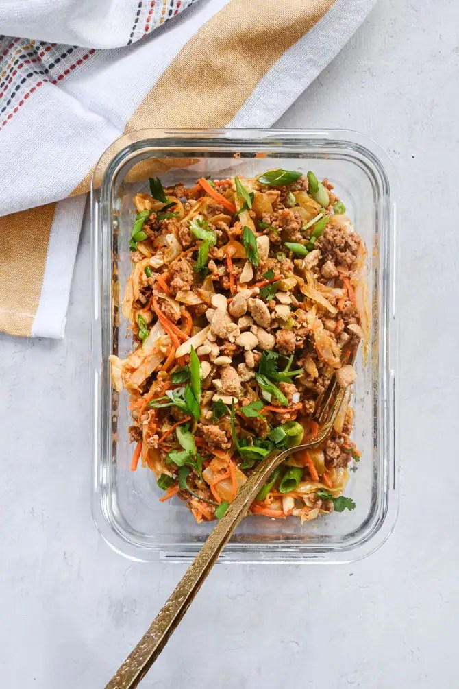 peanut pork stirfry in meal prep container