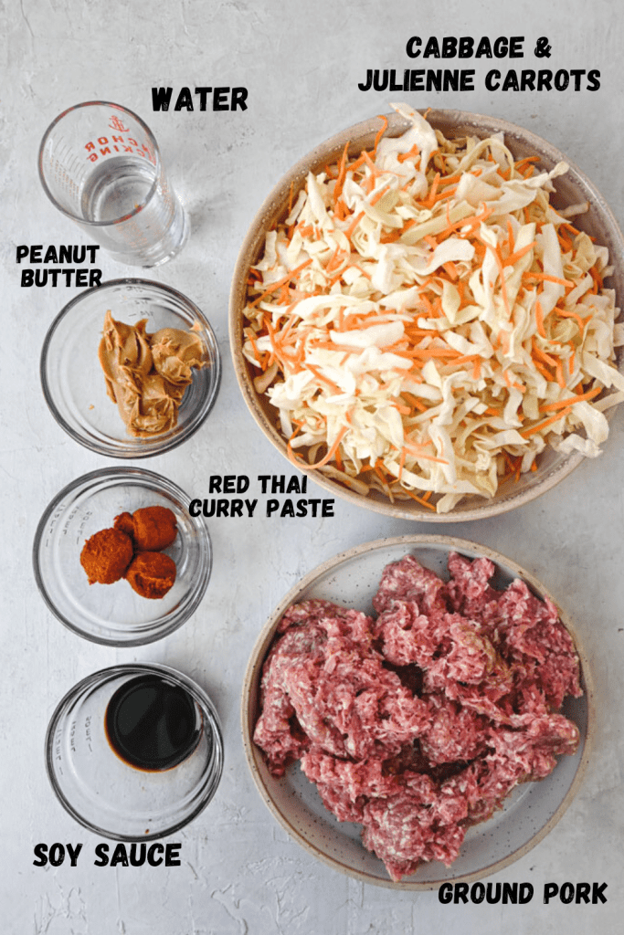 spicy peanut ground pork bowl ingredients