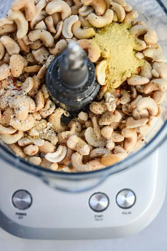 Easy Cashew Cheese Dip raw ingredients in food processor
