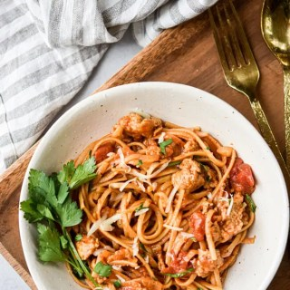 Easy One Pot Linguine with Italian Sausage from above