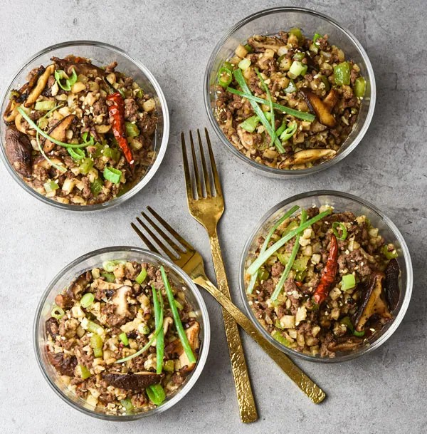 Kung Pao Beef & Cauliflower Rice Bowls 4 bowls