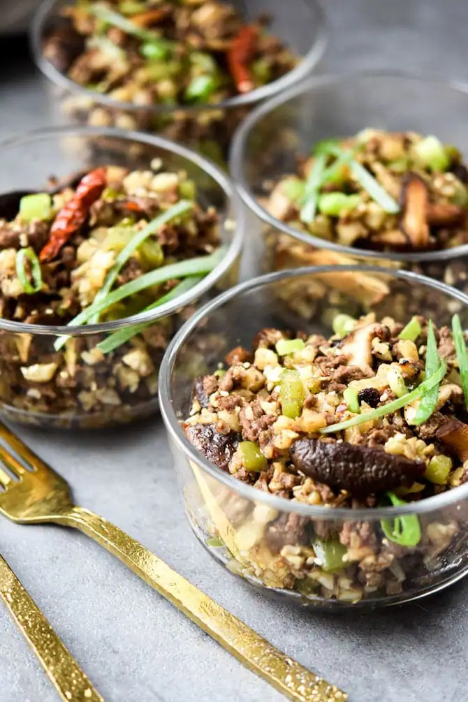 Kung Pao Beef & Cauliflower Rice Bowls meal prep bowls
