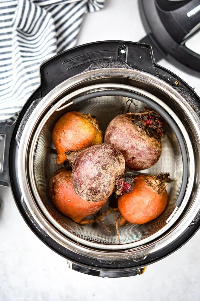 Overhead-beets-in-instant-pot-steamer-basket-raw
