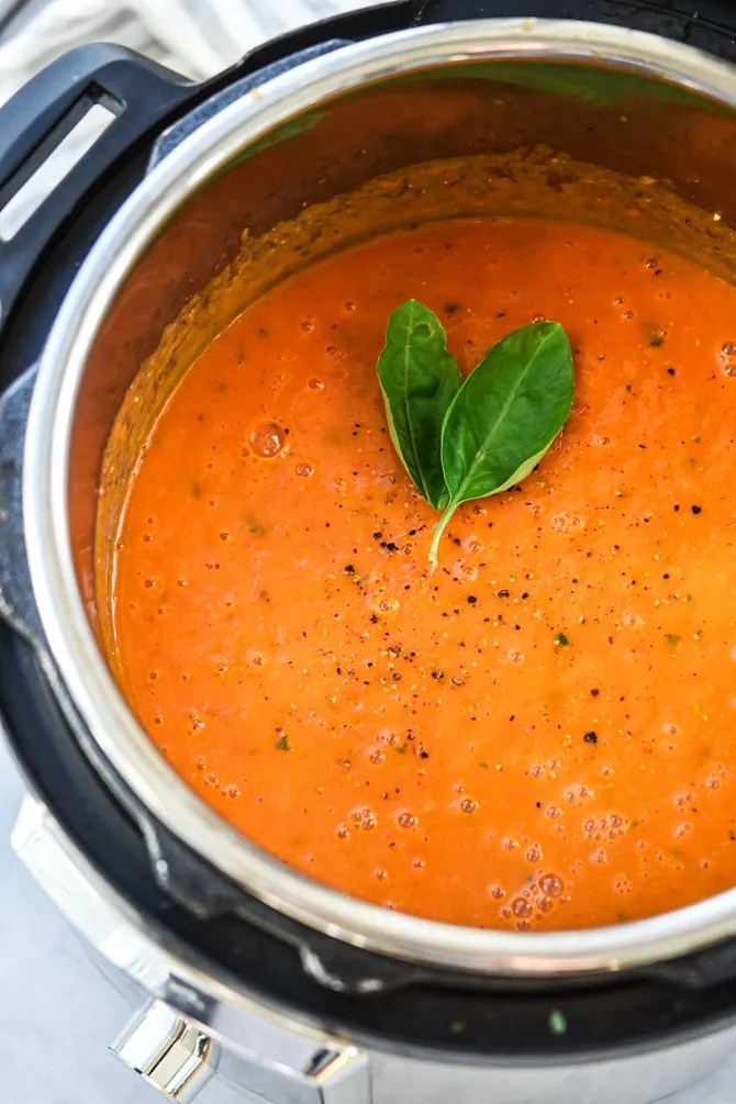 Simple Instant Pot Tomato Basil Soup in Instant Pot blended