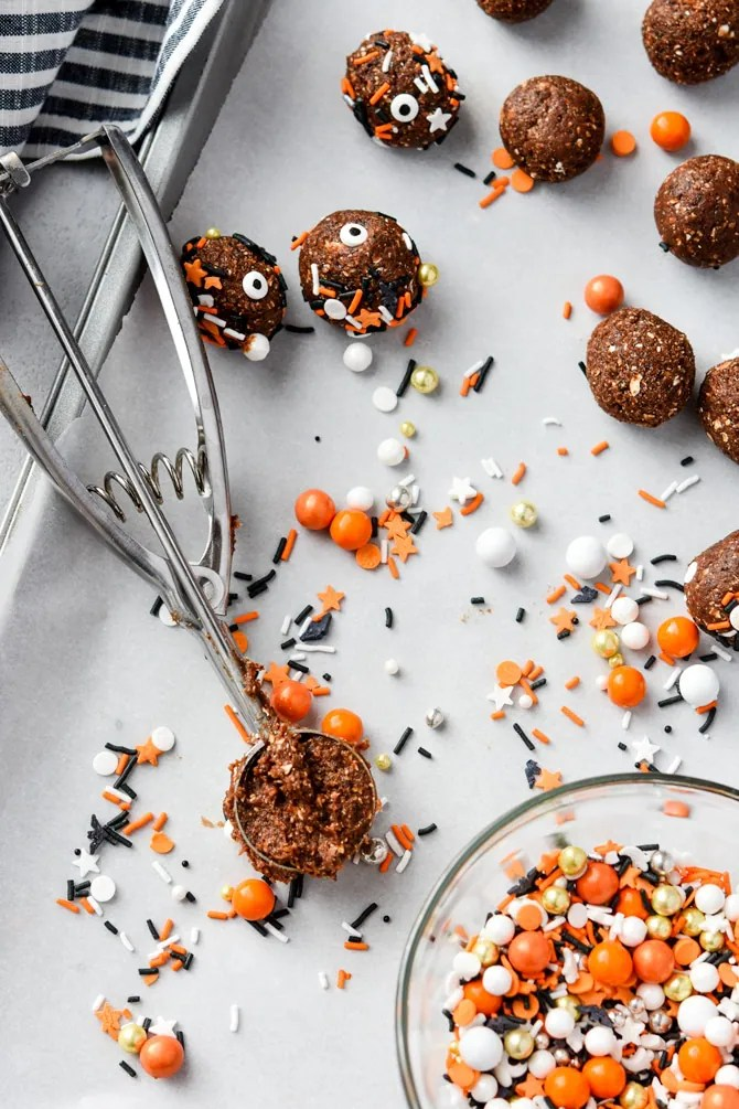 Healthy Halloween Brownie Bites with cookie scoop