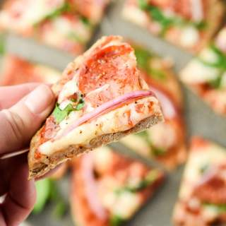 Low Carb frozen pizza crust slice with toppings