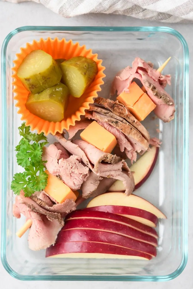 flatlay lunch box kit with beef and cheese stick