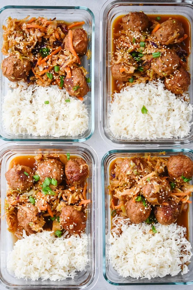 4 meal prep containers with meatballs