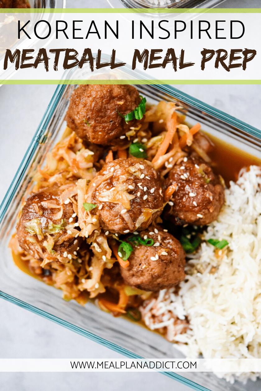 korean inspired meatball meal prep close up
