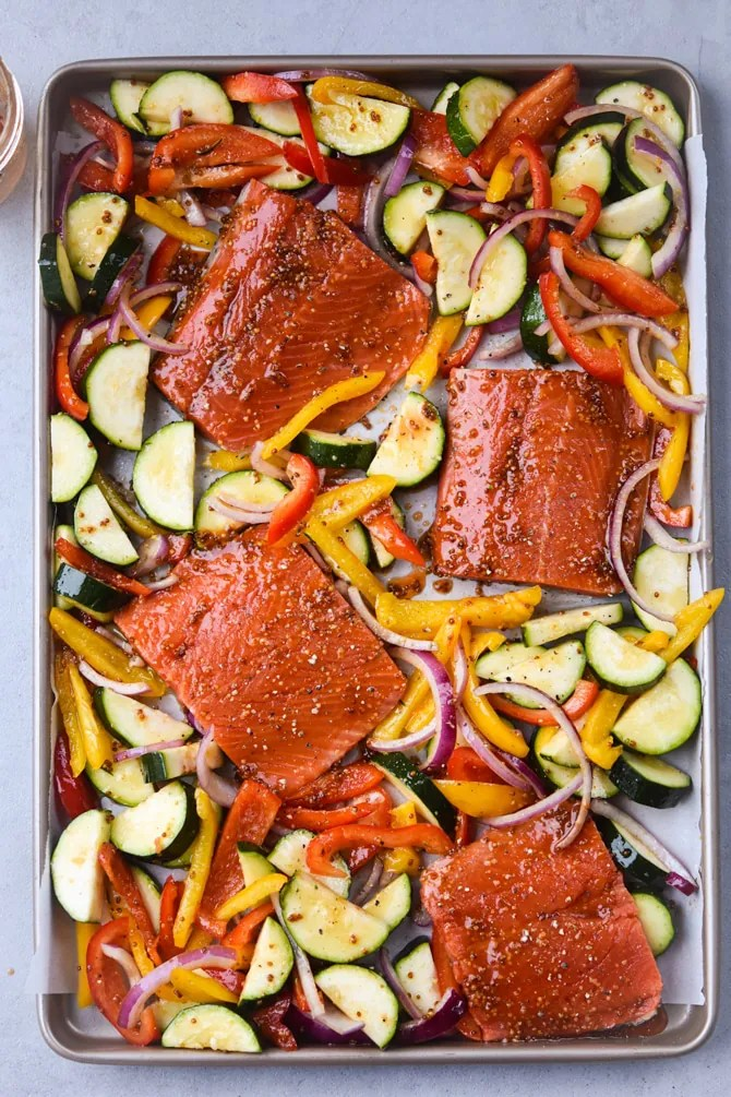 Maple Dijon Salmon with veggies on sheet pan