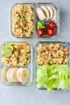 curried chickpea salad meal prep in containers