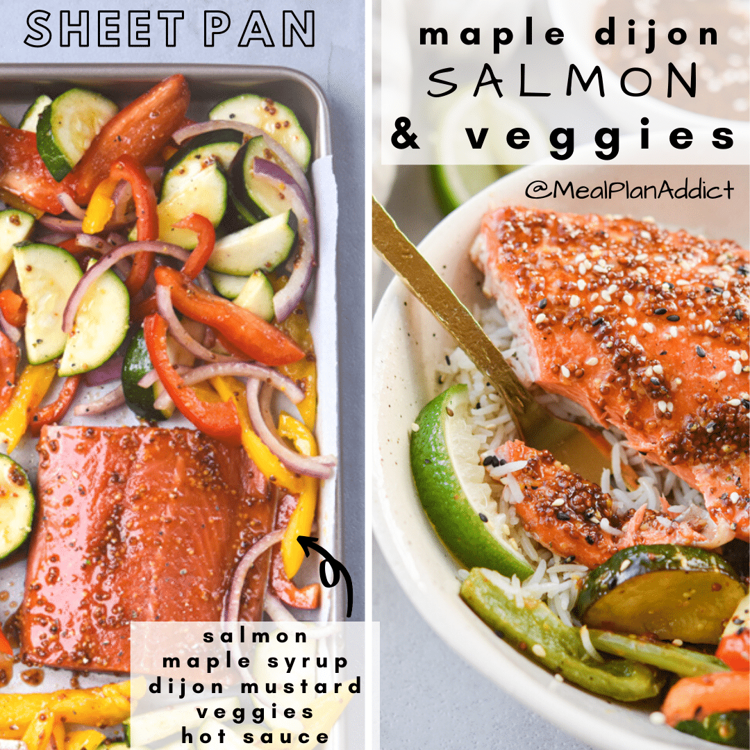 side by side image of ingredients on sheet pan vs finished and plated bowl
