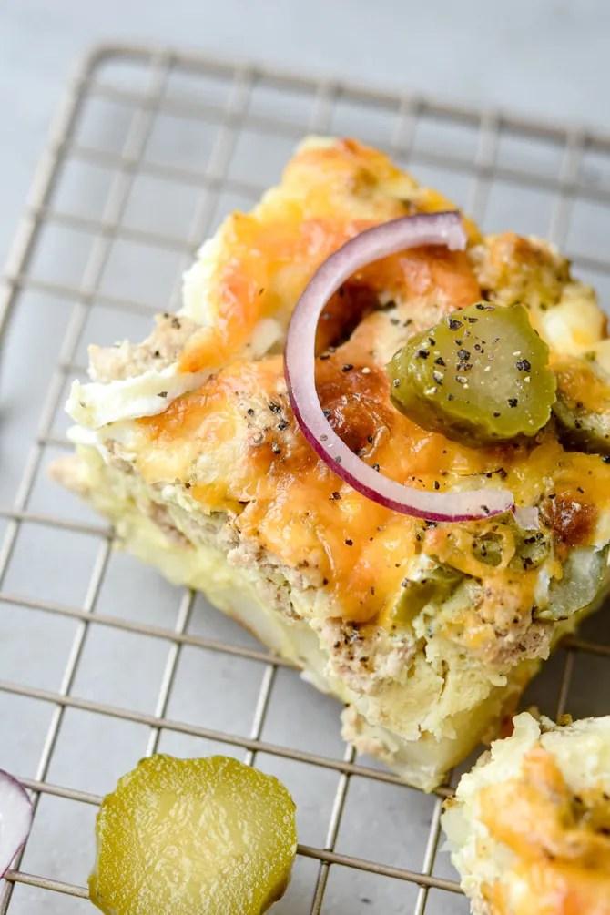 cheeseburger breakfast casserole close up