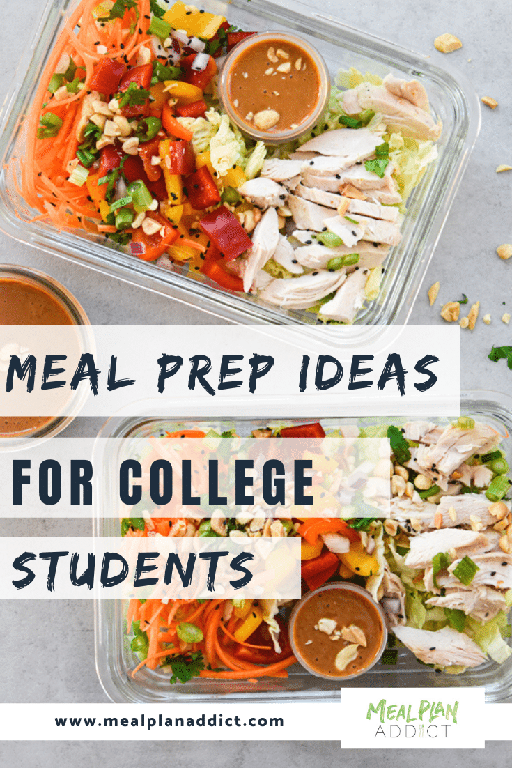 meal prep ideas for college students pinterest image showing 3 meal prep chopped salads