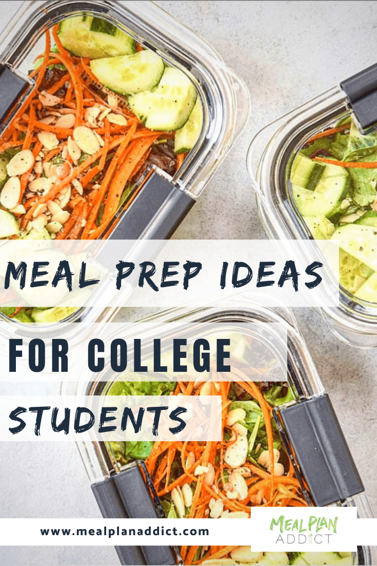 meal prep ideas for college students pinterest image showing 3 meal prep salads
