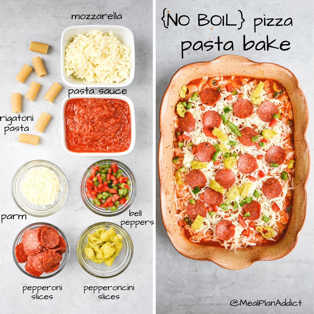no boil pizza pasta bake ingredients