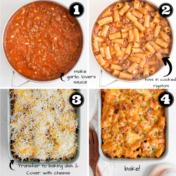 how to make garlic lovers rigatoni step by step collage