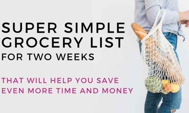 Super Simple Grocery List for Two Weeks (free template)