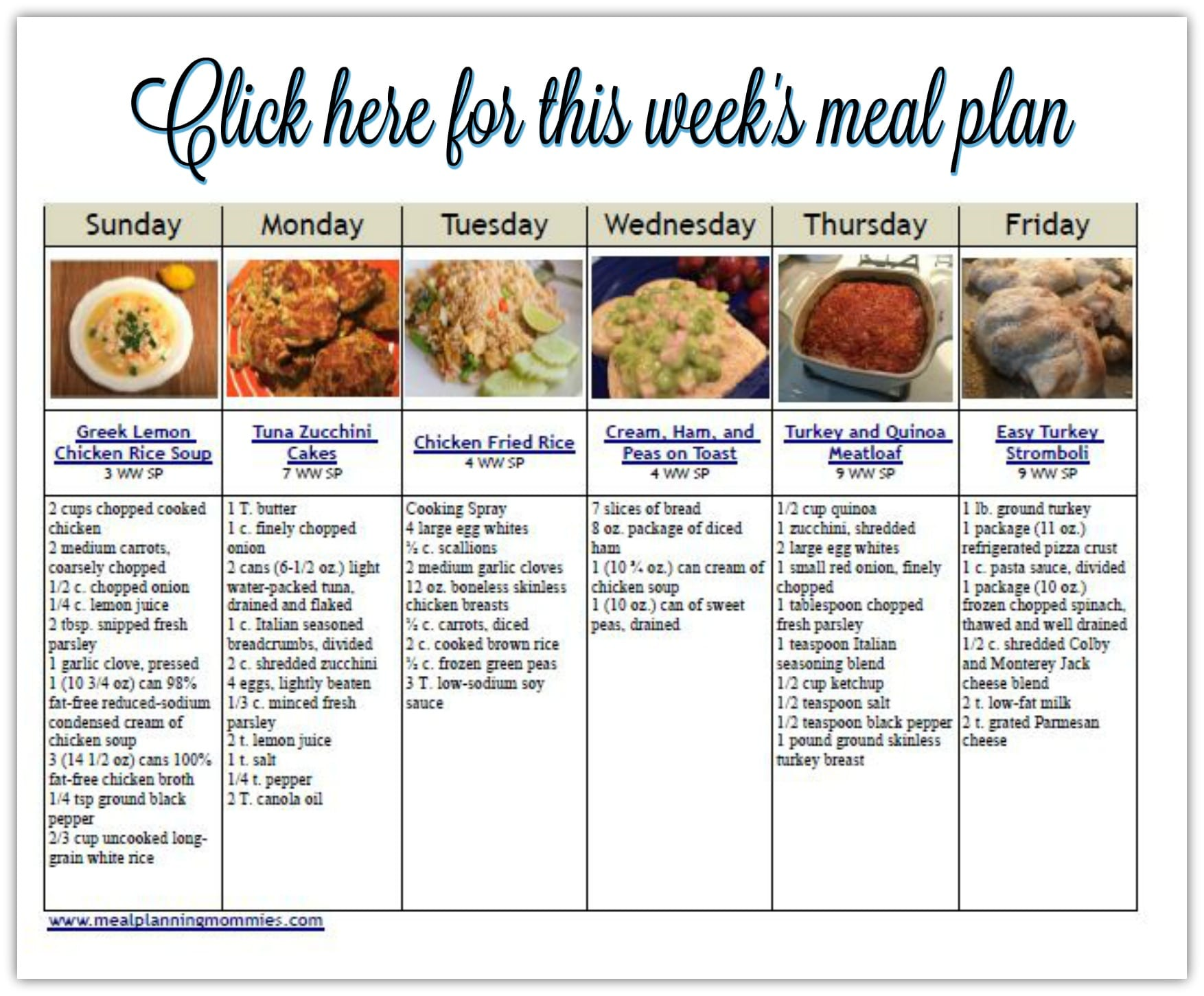 Weight Watcher Friendly Meal Plan With Smart Points 15