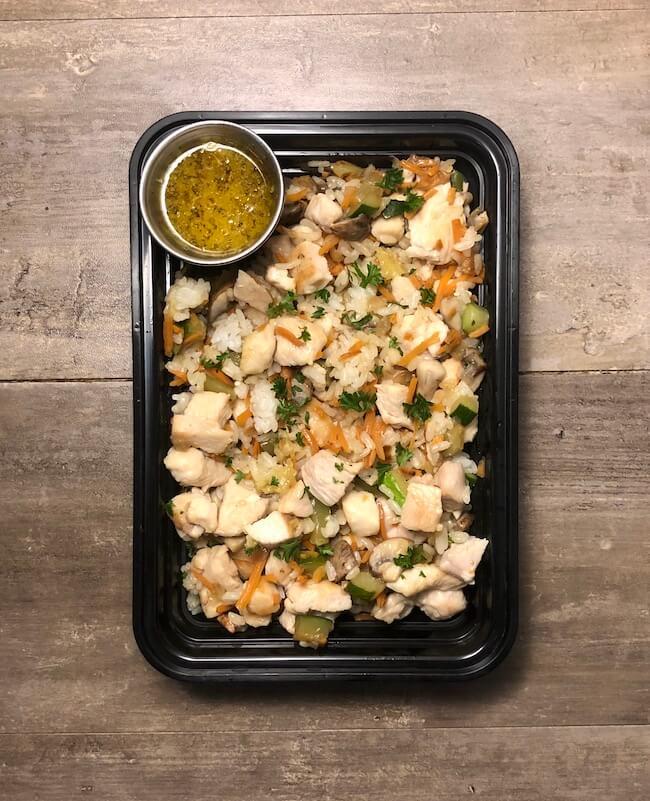 Chicken and Vegetable Rice Bowls with Orange Dijon Vinaigrette