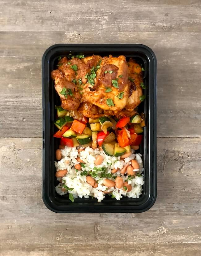 Chili Garlic Chicken with Rice and Beans
